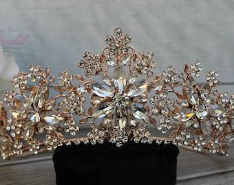 FAST Shipping!!! Rose Gold Swarovski Tiara,  CristalTiara , Wedding Tiara ,Crown , Princess Tiara, Quinceañera, Cristal Headpiece