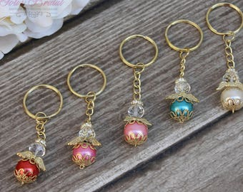 FAST SHIPPING!! 12 Pieces Gold Angel Key Chain, Christening Favor, Baptism Giveaway, Communion Favor, Confirmation Favor, Baptism Thank you