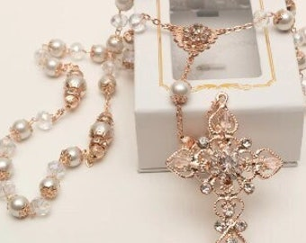 FAST SHIPPING!! Beautiful Rose Gold Rosary, Wedding Rosary, Communion Rosary, Christening Rosary, Confirmation Rosary, Rosary Gift