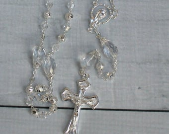 FAST SHIPPING!! Handcrafted Beautiful Silver Rosary