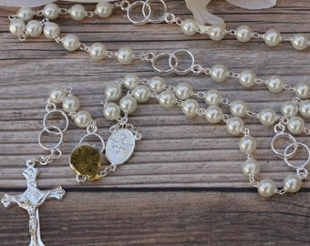 Handcrafted  Beautiful Silver Wedding Rosary Imported from Italy