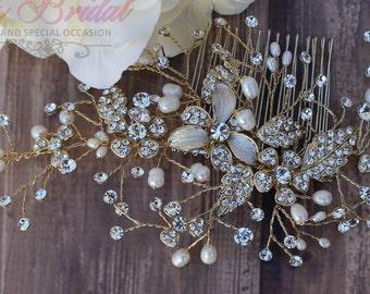 FAST Shipping!!! Gold Bridal Hair Comb, Wedding Hair Comb, Crystal Hair Comb, Swarovski Hair Comb, Hair Comb, Headpiece, Crystal Headpiece