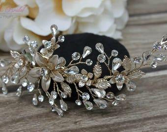 6e8b1054c Gold Bridal Hair Comb, Gold Wedding Hair Comb, Crystal Hair Comb, Swarovski Hair  Comb, Headpiece, Crystal Headpiece,