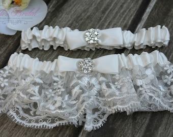 Wedding garters etsy beautiful ivory wedding garter set bridal garter set rhinestones garter lace garter set toss garter tossing garter junglespirit Image collections