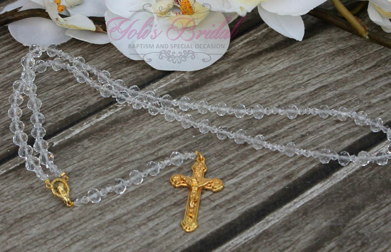 FAST SHIPPING Beautiful Gold  Rosary Wedding Rosary Rosary image 0