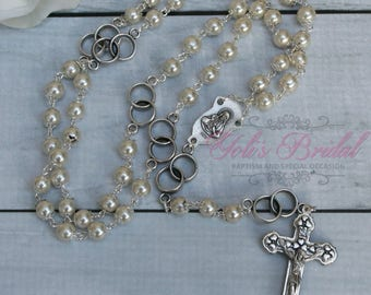 FAST SHIPPING!! Handcrafted Beautiful Silver Wedding Rosary Imported