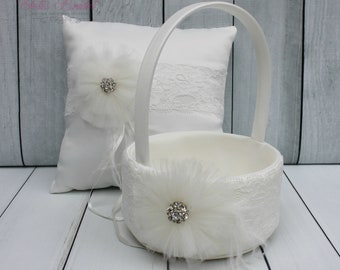 FAST SHIPPING!! Basket and Ring Pillow Set, Set includes Ring Bearer Pillow and Flower Girl Basket, Ivory Lace Ring Pillow, Off-White Basket