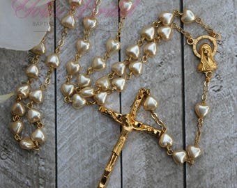 FAST SHIPPING!! Beautiful heart shaped beads Gold Rosary