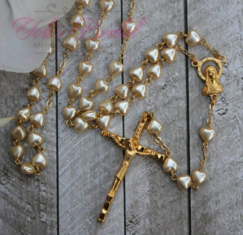 FAST SHIPPING Beautiful heart shaped beads Gold Rosary image 0