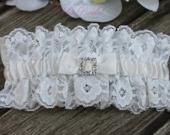 FAST Shipping!!!!  Beautiful Ivory Wedding Garter, Bridal Garter, Garter, Rhinestones Garter, Wedding Garter, Lace garter, Lace and Satin