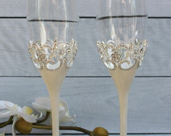 FAST SHIPPING!! Wedding Toast Set, Champagne Flutes, Wedding Glasses, Wedding Gift, Wedding toast, Anniversary Gift, Wedding Anniversary