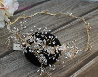 FAST SHIPPING!!  Gold Swarovski Bridal Halo, Bridal Wreath, Bridal Hair Comb, Swarovski  Hair Comb, Crystal Hair Comb, Swarovski Hairband