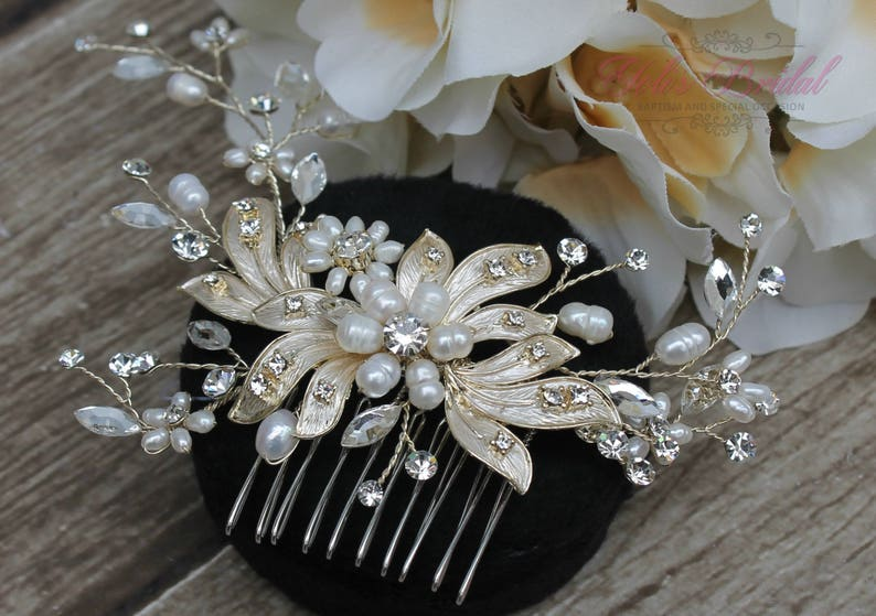 FAST Shipping Gold Bridal Hair Comb with Fresh Water image 0