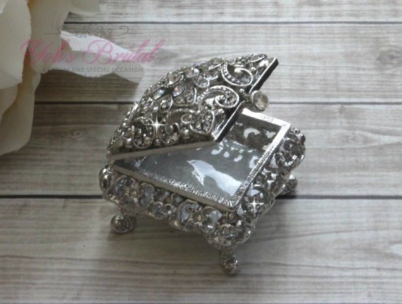 bdfc80e6e892 FAST SHIPPING!! Beautiful Swarovski Crystal Ring Box, Wedding Gift, Wedding  Rings, Ring Bearer, Anniversary Gift, Jewelry Box, Ring Holder