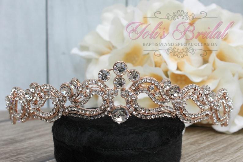 FAST SHIPPING Rose Gold Swarovski Tiara Crystal Tiara image 0