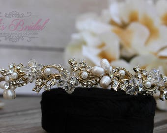 FAST SHIPPING!! Gold Swarovski and Pearl Headband, Tiara, Crystal Swarovski Headband, Tiara, Wedding Tiara, Wedding Headpiece, Bridal Tiara