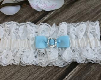 FAST Shipping!!!!  Beautiful Ivory Wedding Garter, Bridal Garter, Garter, Rhinestones Garter, Something Blue, Blue Wedding Garter