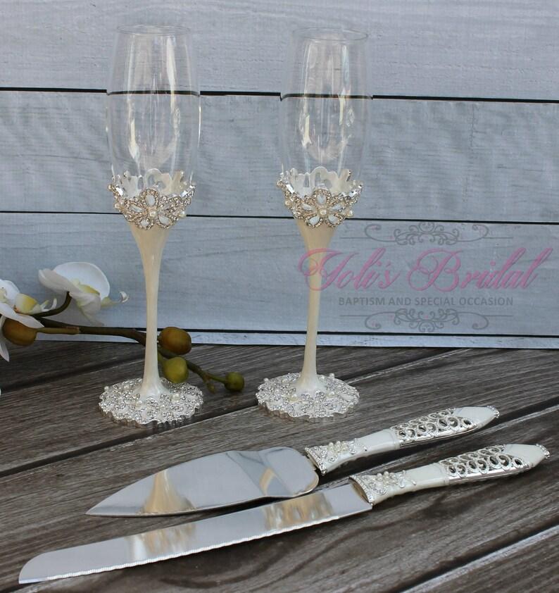 FAST SHIPPING Wedding Toast and Cake Server Set Champagne image 0