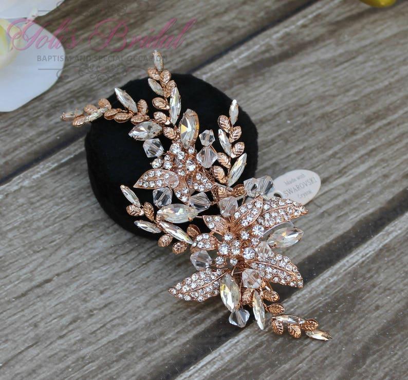 FAST SHIPPING Rose Gold Bridal Hair Comb Wedding Hair image 0