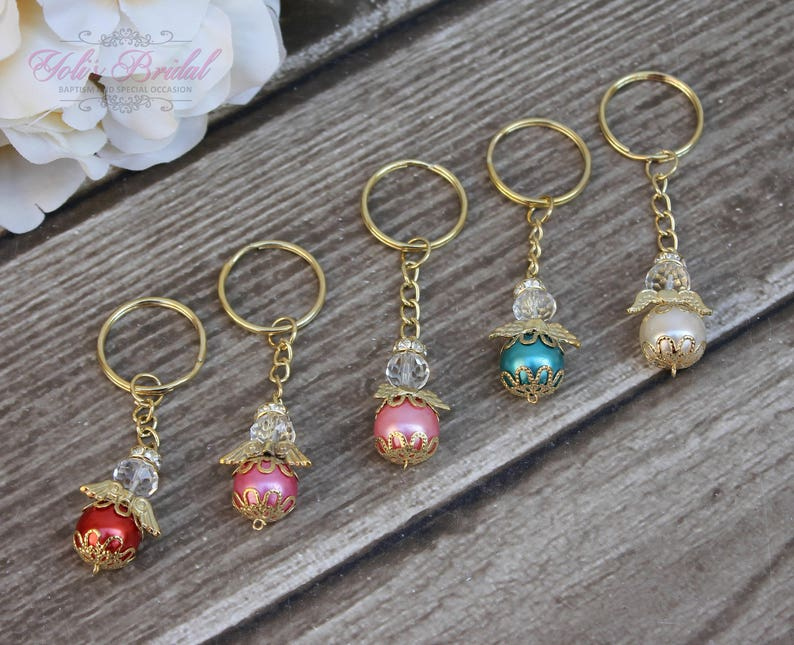 FAST SHIPPING 12 Pieces Gold Angel Key Chain Christening image 0
