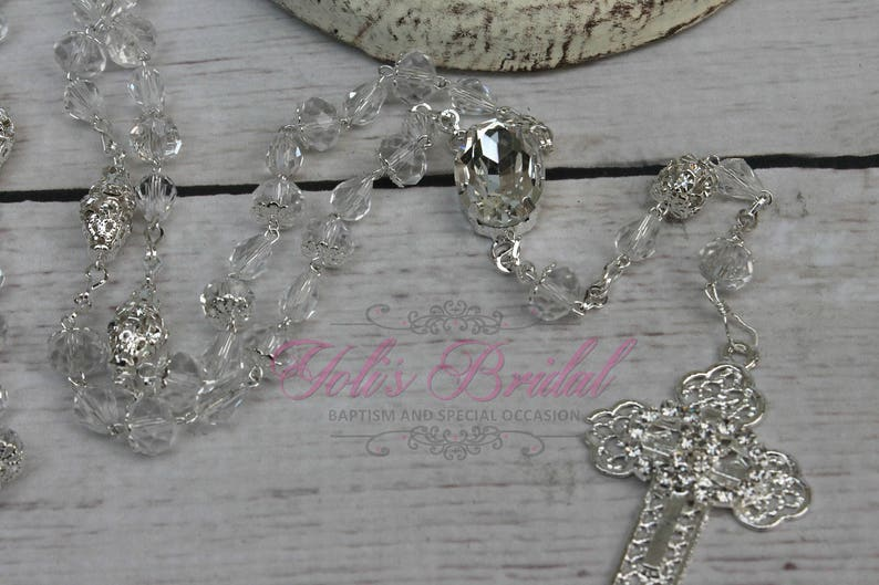 FAST SHIPPING Handcrafted Beautiful Wedding Silver Rosary image 1