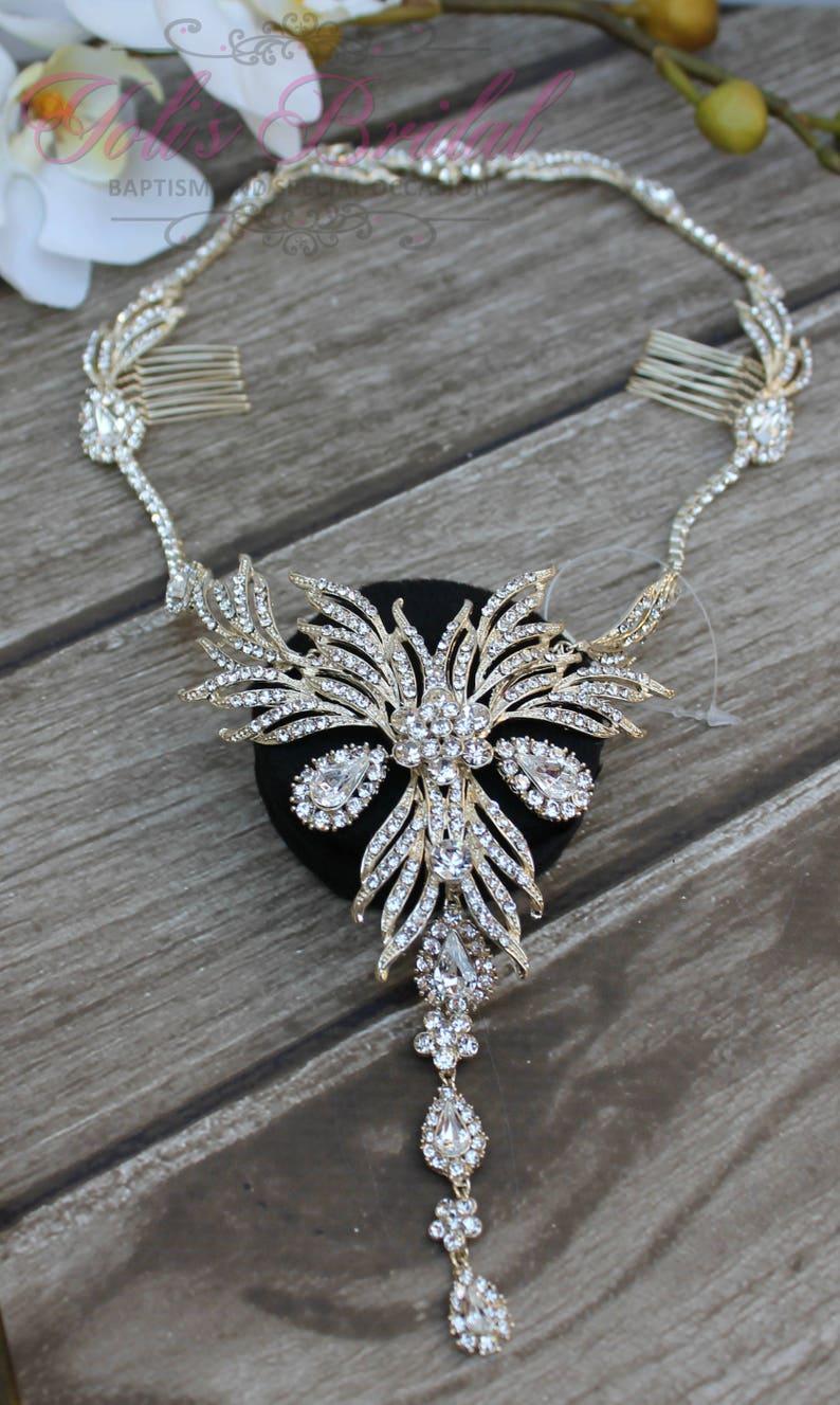 SALESALE Gold Bridal Halo Swarovski  Hair Comb Crystal image 0