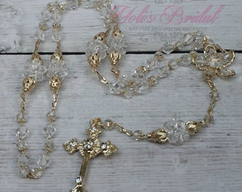 FAST SHIPPING!! Handcrafted Beautiful Gold Rosary, Wedding Rosary, Communion Rosary, Christening Rosary, Confirmation Rosary, Rosary Gift