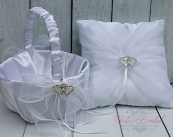 FAST SHIPPING!! Basket and Ring Pillow Set, Set includes Ring Bearer Pillow and Flower Girl Basket, White Lace Ring Pillow, White Basket