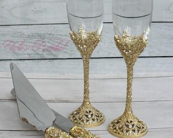 Swarovski Crystal Wedding toast Set, Champagne Glasses, Wedding Toasting flutes, Cake server Set, Cake Knife and Server Set