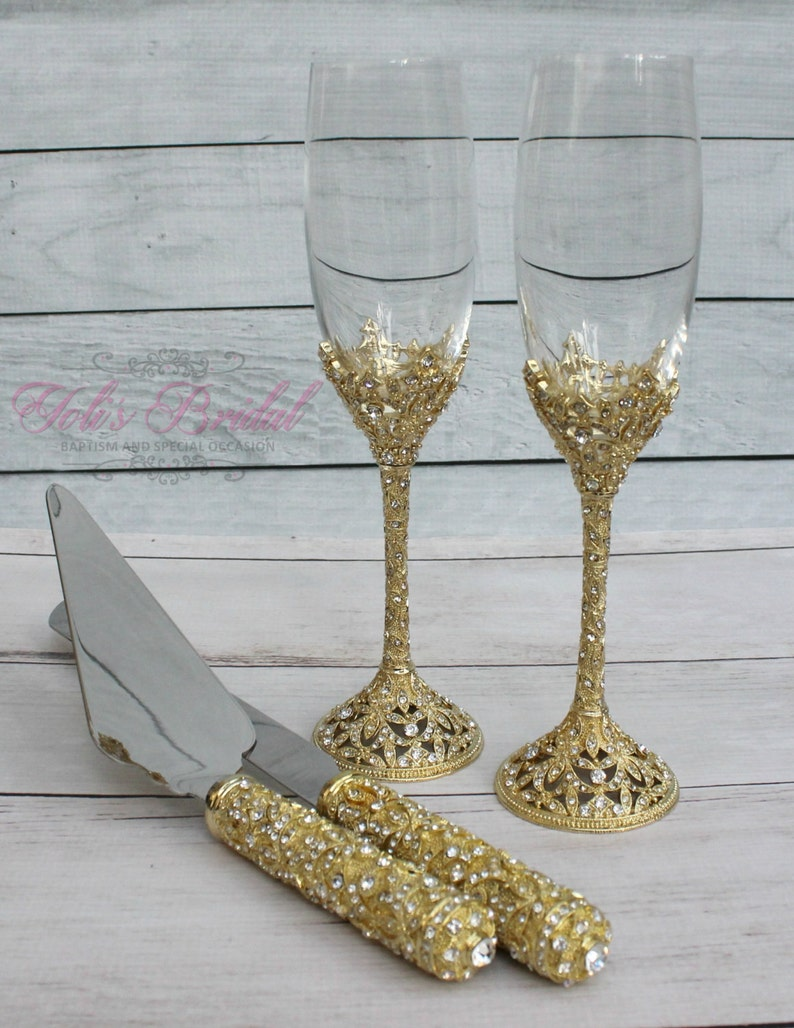 2d0f406ac47 Swarovski Crystal Wedding toast Set Champagne Glasses