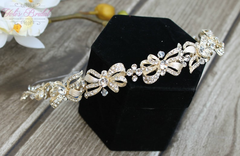 FAST SHIPPING Gorgeous Bridal Headband Gold Swarovski image 0
