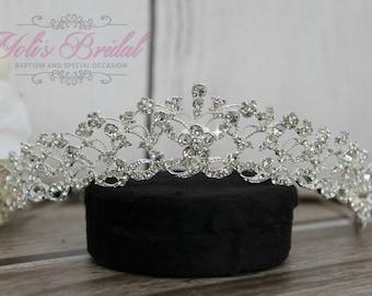 Silver Swarovski Tiara, QuinceaneraTiara, CrystalTiara ,Wedding Tiara, Wedding Headpiece, Bridal Tiara, Crystal Headpiece, Bridal Headpiece