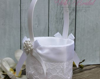 FAST SHIPPING!! Beautiful and Romantic Flower Girl Basket, Lace Flower Girl Basket, Wedding Basket with Pearls, Bridal Flower Basket