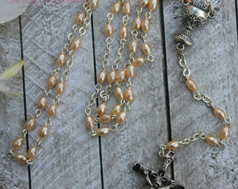 SALE*SALE!! Handcrafted Beautiful First Communion Rosary, Communion Rosary, Confirmation Rosary, Rosary Gift, First Communion Gif