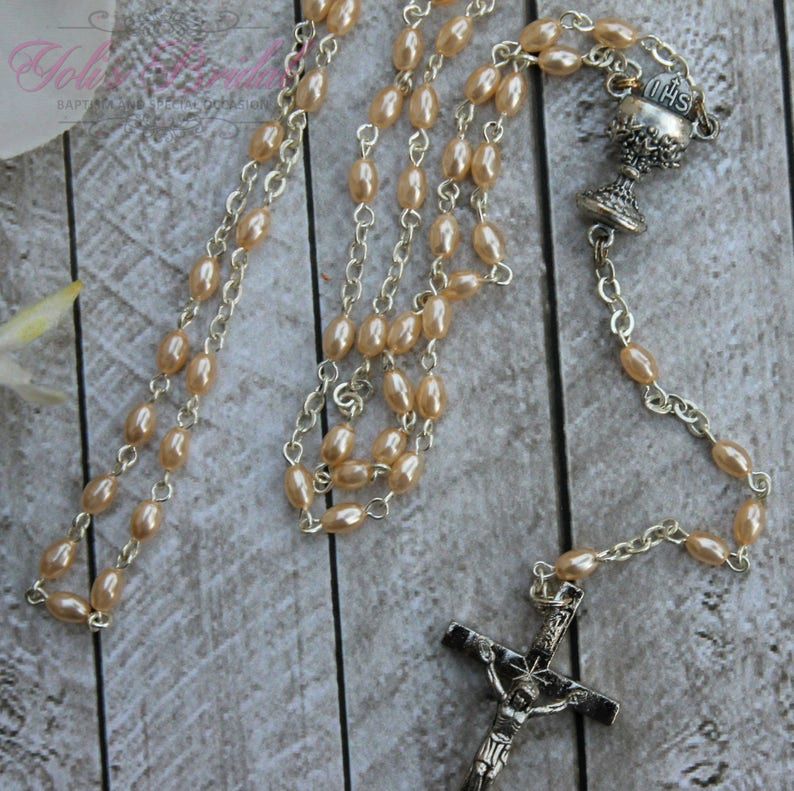 SALESALE Handcrafted Beautiful First Communion Rosary image 0