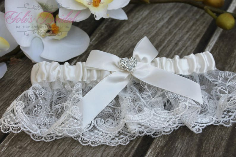 FAST Shipping  Beautiful Ivory Wedding Garter with Heart image 0