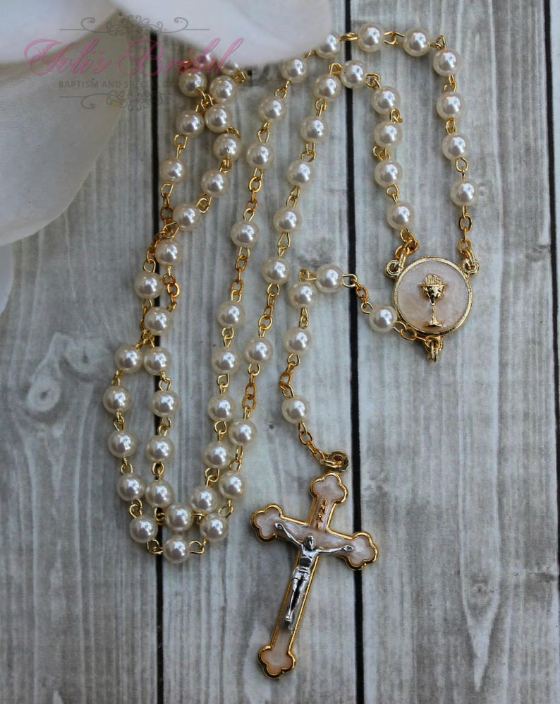 FAST SHIPPING Handcrafted Beautiful First Communion Rosary image 0