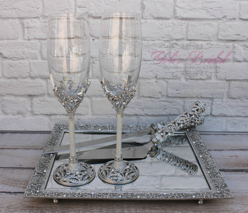 4b9324212a5 FAST SHIPPING Swarovski Crystal Wedding toast Set