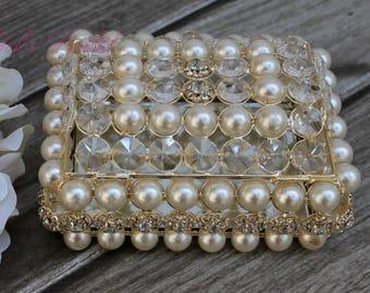 NEW!! Beautiful Crystal and Pearl Box, Wedding Lasso Box, Wedding Jewelry Box, Wedding Arras, Jewelry Box, Wedding Gift, Anniversary Gift