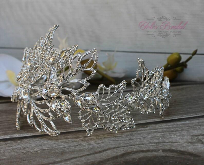 SALESALE Flexible Silver Bridal Wreath with Swarovski image 0