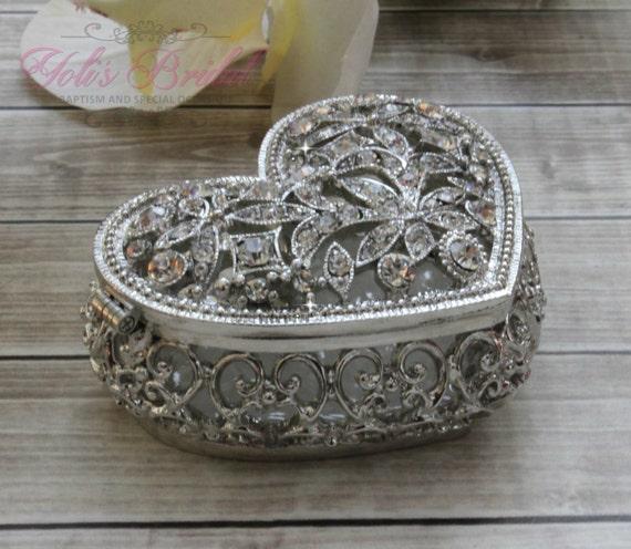 box on wedding rings-Rustik heart brown with Szydelkowymi flowers