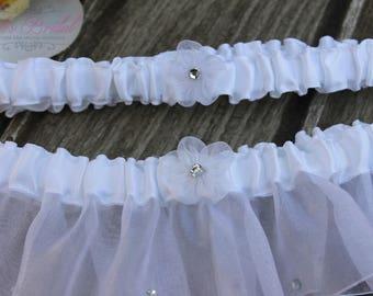 FAST Shipping!!!!  Beautiful White Wedding Garter Set, Bridal Garter Set, Rhinestones Garter, White Garter Set, Toss Garter, Tossing Garter