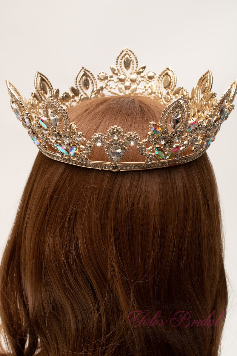 Sweet 16 Gold AB Round Crown Pageant Crown Full Crown FAST SHIPPING! Crystal Crown Tiara Royal Crown Wedding Crown Quincea\u00f1era