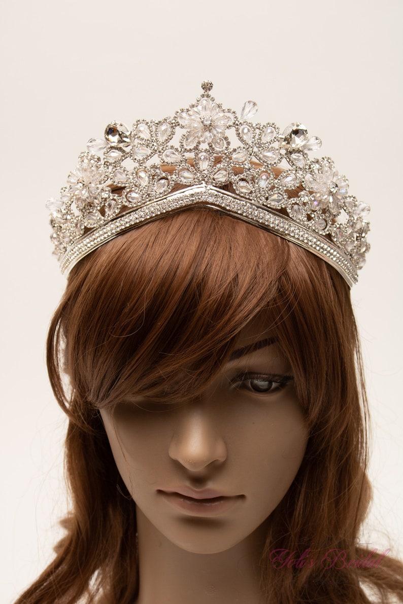 Crown Bridal Tiara Silver Sparkling Tiara Princess Tiara Crystal Tiara FAST SHIPPING Quincea\u00f1era Sweet 16 Tiara Wedding Tiara