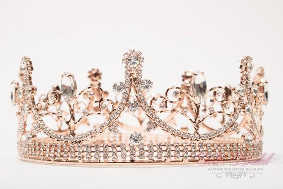 Crystal Tiara Quincea\u00f1era Bridal Tiara Wedding Tiara FAST SHIPPING Crown Rose Gold Sparkling Tiara Sweet 16 Tiara Princess Tiara