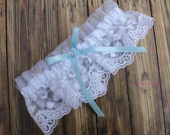FAST Shipping!!!!  Beautiful Lace Wedding Garter, Bridal Garter, White Lace Garter, Something Blue, Blue Wedding Garter, Toss Garter,