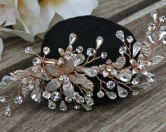 FAST SHIPPING!!! Rose Gold Bridal Hair Comb, Rose Gold Wedding Hair Comb, Hair Comb, Swarovski Hair Comb, Headpiece, Crystal Headpiece