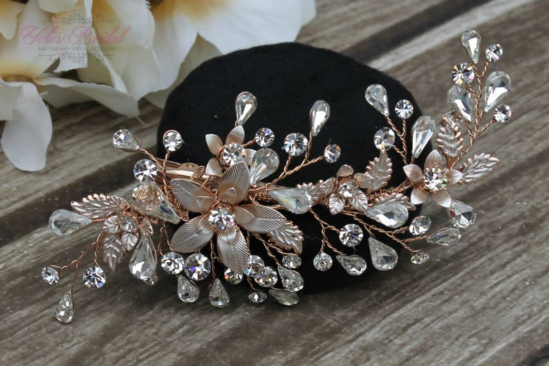 FAST SHIPPING Rose Gold Bridal Hair Comb Rose Gold Wedding image 0