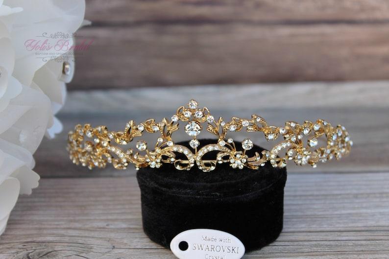 FAST SHIPPING Gold Swarovski Tiara Crystal Tiara Bridal image 0
