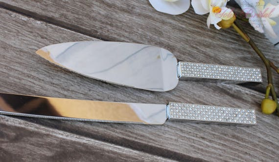 FAST SHIPPING!! Silver Swarovski Crystal Cake Knife and Server Set, Wedding Cake Server and Knife, Gold Cake Server and Knife